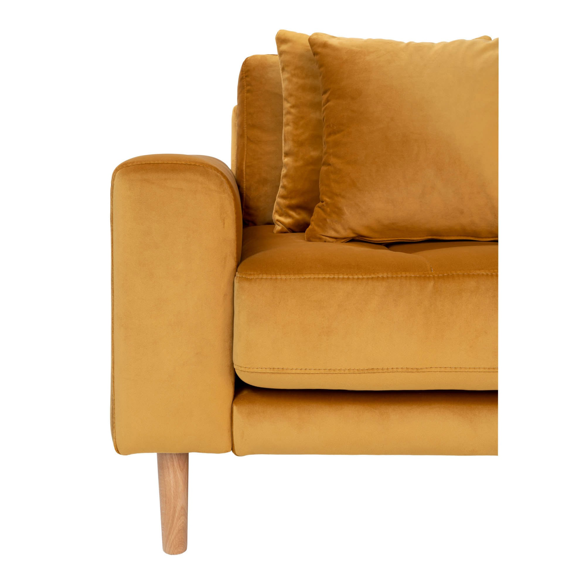 Lido Lounge Sofa i sennepsgul velour højrevendt